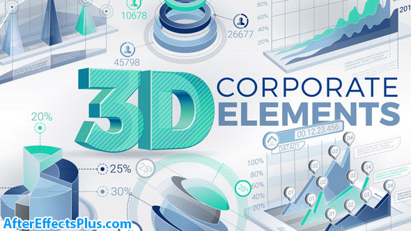 پروژه افتر افکت ابزار سه بعدی اینفوگرافیک شرکتی و بازاریابی - 3D Corporate Elements