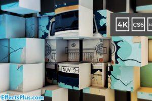 پروژه افتر افکت اسلایدشو دیوار مکعبی سه بعدی – 3D Cubes Wall Slideshow in 4K