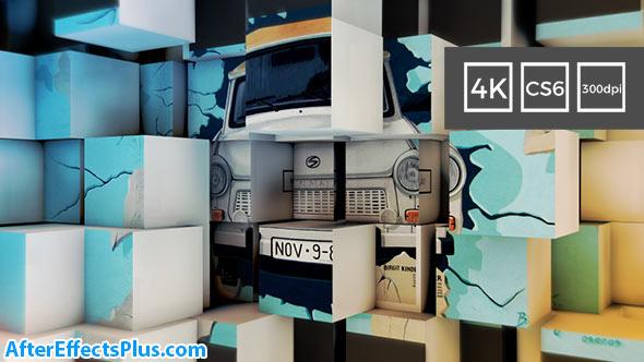 پروژه افتر افکت اسلایدشو دیوار مکعبی سه بعدی - 3D Cubes Wall Slideshow in 4K