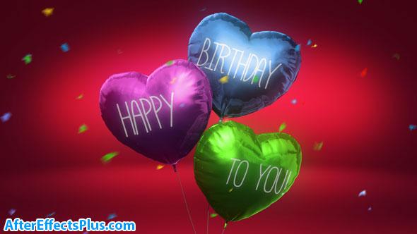 پروژه افتر افکت جشن تولد با قلب بالونی - Balloon Hearts