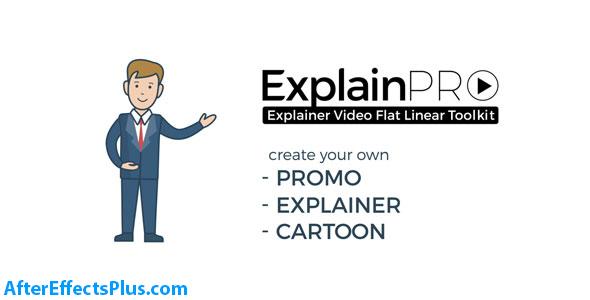 پروژه افتر افکت ابزار توضیح دهنده فلت و کارتونی - ExplainPRO Explainer Video Flat Linear Toolkit