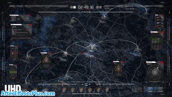 پروژه افتر افکت نقشه کره زمین بصورت نمایشگر فرانما - HUD Map Pack