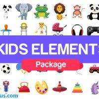 پروژه افتر افکت پکیج المنت کارتونی و عروسکی – Kids Elements Package