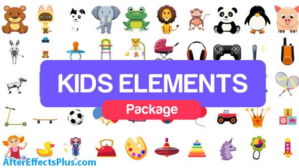 پروژه افتر افکت پکیج المنت کارتونی و عروسکی - Kids Elements Package