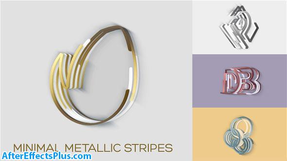 پروژه افتر افکت نمایش لوگو با نوار های فلزی - Minimal Metallic Stripes Reveals
