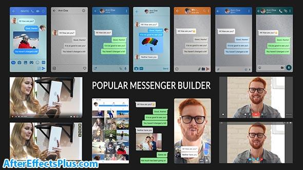پروژه افتر افکت سازنده صفحه چت مسنجر - Popular Messenger Builder