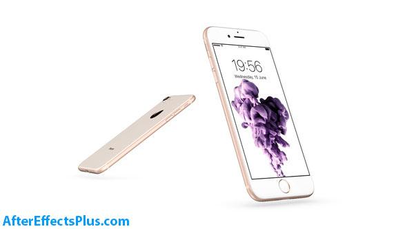 پروژه افتر افکت موکاپ آیفون 8 و آیفون SE - iPhone 8 SE Flat Box Mockup Kit