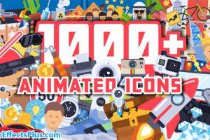 پروژه افتر افکت 1000 آیکون انیمیشنی فلت – 1000+ Flat Animated Icons Pack