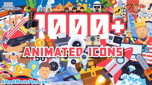 پروژه افتر افکت 1000 آیکون انیمیشنی فلت - 1000+ Flat Animated Icons Pack