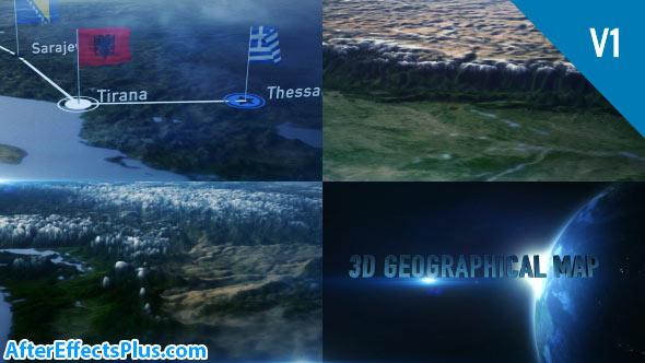 پروژه افتر افکت نقشه جغرافیایی سه بعدی - 3D Geographical Map