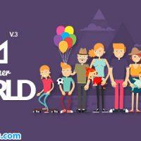 پروژه افتر افکت پکیج ابزار و کاراکتر موشن گرافیک – Explainer World Video Toolkit