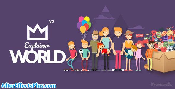 پروژه افتر افکت پکیج ابزار و کاراکتر موشن گرافیک - Explainer World Video Toolkit