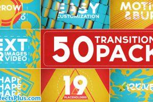 پروژه افتر افکت پکیج 50 ترانزیشن اسلایدشو – 50 Transitions Pack with Opener