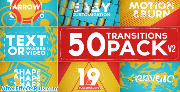 پروژه افتر افکت پکیج 50 ترانزیشن اسلایدشو - 50 Transitions Pack with Opener