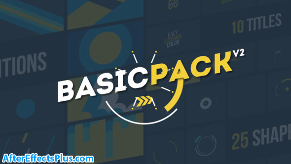 پروژه افتر افکت پکیج متن و ترانزیشن موشن گرافیک - Videohive Basic Pack