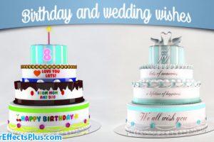 پروژه افتر افکت کیک عروسی و جشن تولد – Birthday and Wedding Wishes