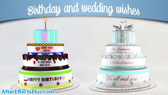 پروژه افتر افکت کیک عروسی و جشن تولد - Videohive Birthday and Wedding Wishes