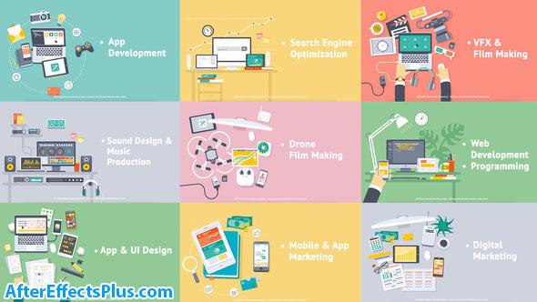 پروژه افتر افکت اینترو موشن گرافیک چند منظوره Creative Process - Flat Design Concepts