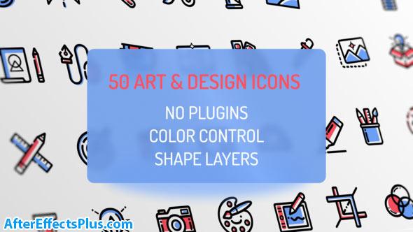 پروژه افتر افکت آیکون طراحی و هنری متحرک - Design and Art Icons