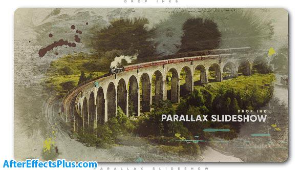 پروژه افتر افکت اسلایدشو پارالاکس با افکت قطره جوهر - Drop Ink Parallax Slideshow