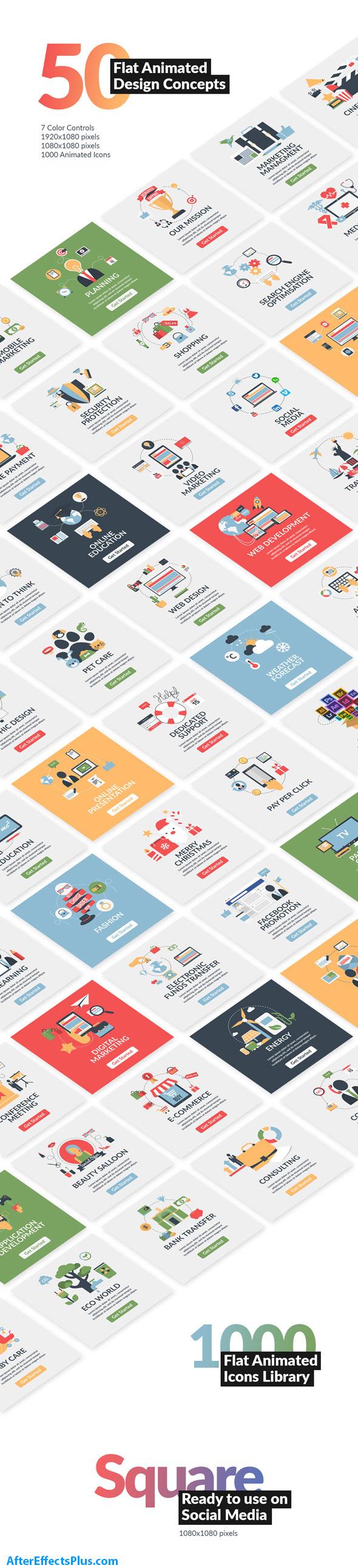 پروژه افتر افکت طرح های مفهومی فلت برای موشن گرافیک - Flat Animated Design Concepts