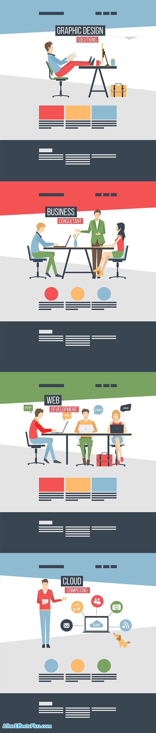پروژه افتر افکت کاراکتر فلت متحرک برای موشن گرافیک - Flat Corporate People