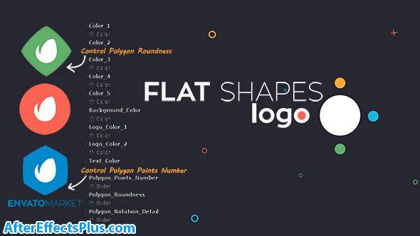 پروژه افتر افکت نمایش لوگو فلت با اشکال هندسی - Videohive Flat Shapes Logo