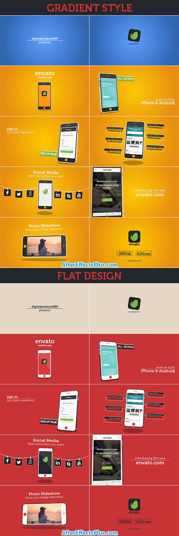 پروژه افتر افکت معرفی اپلیکیشن موبایل اندروید و آیفون - Videohive New Mobile App Presentation iOS & Android