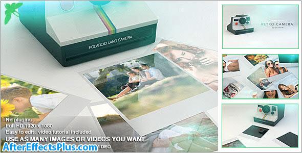 پروژه افتر افکت اسلایدشو عکس با دوربین عکاسی چاپ سریع - Videohive Retro Camera Slideshow