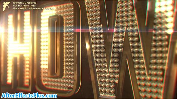 پروژه افتر افکت نمایش لوگو و متن سه بعدی با لامپ های کوچک - Videohive Showbiz Logo