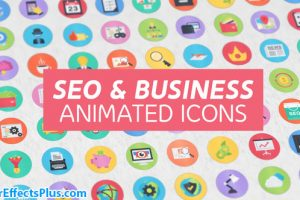 پروژه افتر افکت 100 آیکون انیمیشنی فلت – 100 Seo & Business Modern Flat Animated Icons