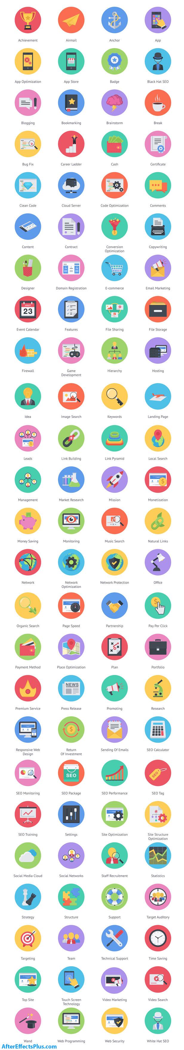 پروژه افتر افکت 100 آیکون انیمیشنی فلت - Videohive 100 Seo & Business Modern Flat Animated Icons