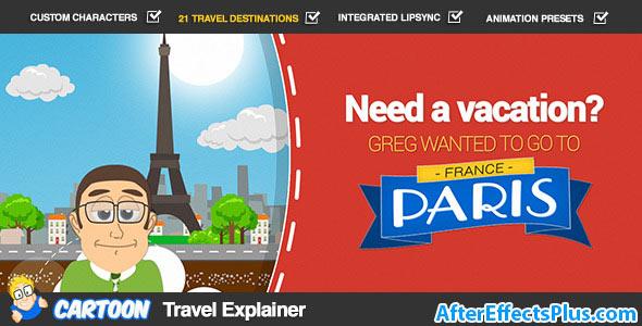 پروژه افتر افکت تیزر توضیح دهنده مسافرتی موشن گرافیک - Videohive Cartoon Travel Explainer