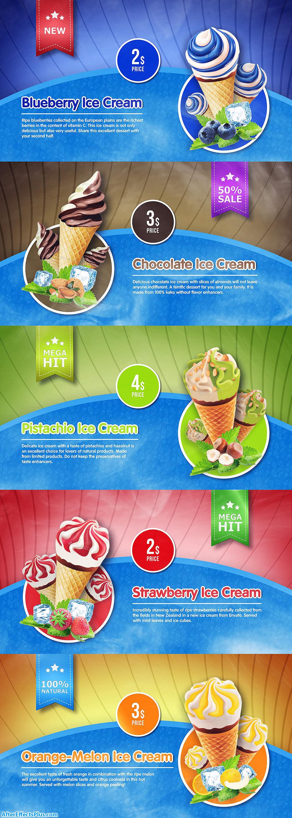 پروژه افتر افکت اینترو و تیزر تبلیغاتی بستنی فروشی - Ice Cream Menu