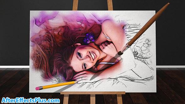 پروژه افتر افکت اسلایدشو با افکت اسکچ و رنگ آمیزی - Sketch and Paint