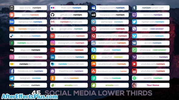 پروژه افتر افکت زیرنویس شبکه های اجتماعی - Social Media Lower Thirds
