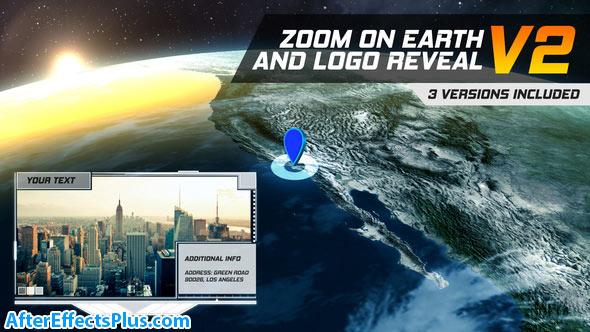 پروژه افتر افکت اینترو بزرگنمایی روی کره زمین - Zoom On Earth And Logo Reveal V2