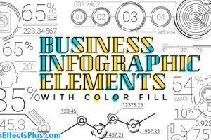 پروژه افتر افکت 30 المنت اینفوگرافیک خطی – 30 Line Infographic Elements