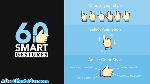 پروژه افتر افکت 60 حرکت دست موشن گرافیک - Videohive 60 Smart Gestures