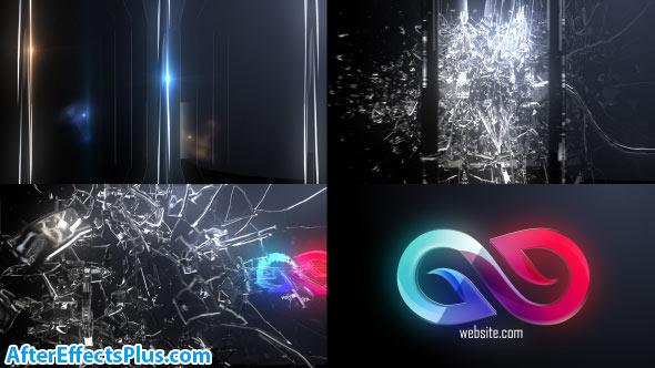 پروژه افتر افکت نمایش لوگو با شکستن شیشه - Abstract Glass Shatter Logo Opener