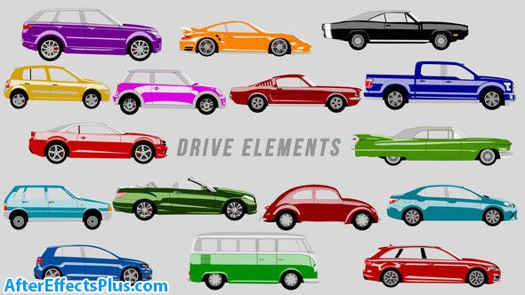 دانلود پروژه افتر افکت ماشین کارتونی متحرک - Drive Elements