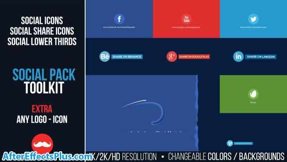 پروژه افتر افکت پکیج ابزار شبکه های اجتماعی - Videohive Social Pack Toolkit