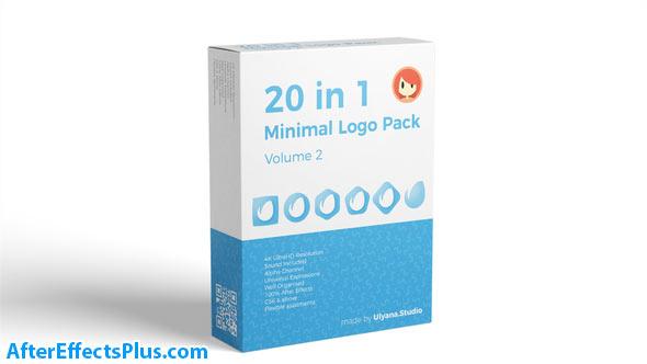 پروژه افتر افکت پکیج لوگو فلت و مینیمال - 20 in 1 Minimal Logo Pack