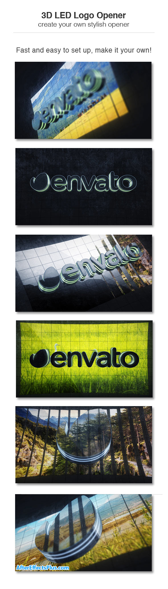 پروژه افتر افکت اینترو نمایش لوگو LED سه بعدی - Videohive 3D LED Opener Logo Slideshow