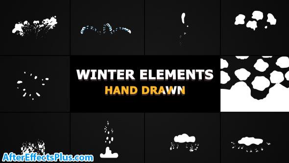 پروژه افتر افکت المنت افکت کارتونی زمستان - Videohive Flash FX WINTER Elements