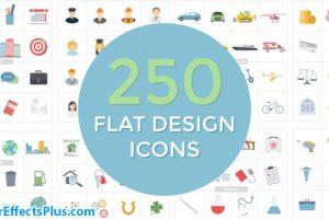 پروژه افتر افکت مجموعه آیکون طراحی فلت – Flat Design Icons