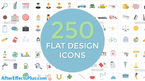 پروژه افتر افکت مجموعه آیکون طراحی فلت - Flat Design Icons
