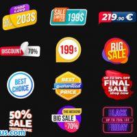 پروژه افتر افکت برچسب و لیبل متحرک – Animated Labels & Prices