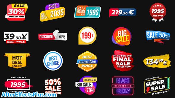 پروژه افتر افکت برچسب و لیبل متحرک - Animated Labels & Prices
