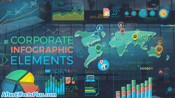 پروژه افتر افکت ابزار اینفوگرافیک شرکتی رنگارنگ - Colorful Corporate Infographic Elements